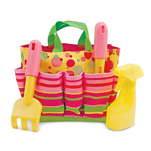 (Melissa & Doug Sunny Patch Blossom Bright Gardening Tote Set With Tools)