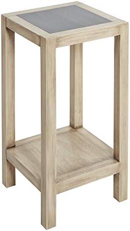 Silverwood Side Table, Light Wood w Gunmetal