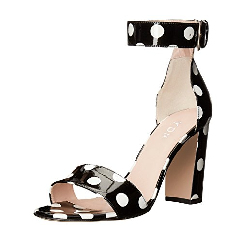 YDN Women Chunky High Heel Sandals Polka Dot with Ankle Strap Dressing Prom Shoes Black (Black Polka Dot Sandals)