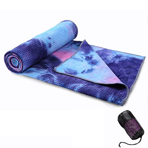 Non Slip Yoga Towel, Microfiber Sweat Absorbent & Quick Dry Mat Towel, Absorb Sweat - Ideal for Hot Yoga, Pilates and Workout