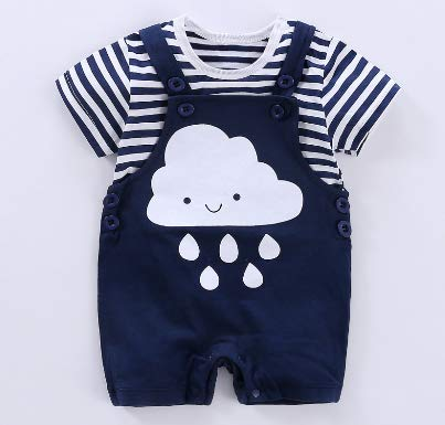 383ab3f23655 Cosmickolors Exclusive Cotton Navy Blue Cloud Dungaree and T-Shirt ...