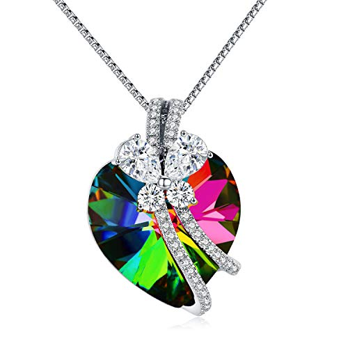 Tacther.H Love Heat Necklace Pendant with Swarovski Crystal Women Jewelry Gifts.