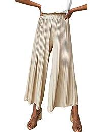 NANYUAYA Women Lengthening High Waist Wide Leg Pants Palazzo Pants with Elastic Band