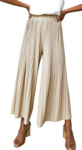 Pant Pleated Womens (MNLYBABY Womens Flowy Pleated Wide Leg Palazzo Pants Loose Casual Trousers with Elastic Band Size US 2-4/Tag S (Khaki))