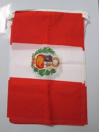 AZ FLAG Guirnalda 12 Metros 20 Banderas de PERÚ 45x30cm - Bandera PERUANA 30 x 45 cm - BANDERINES: Amazon.es: Jardín