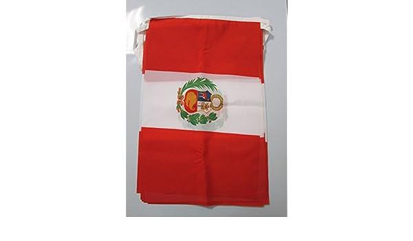 GUIRNALDA 12 metros 20 BANDERAS de PERÚ 45x30cm - BANDERA PERUANA 30 x 45 cm - BANDERINES - AZ FLAG: Amazon.es: Deportes y aire libre