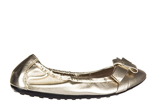 Hogan Damen Leather Ballet Flats Ballerinas Gold