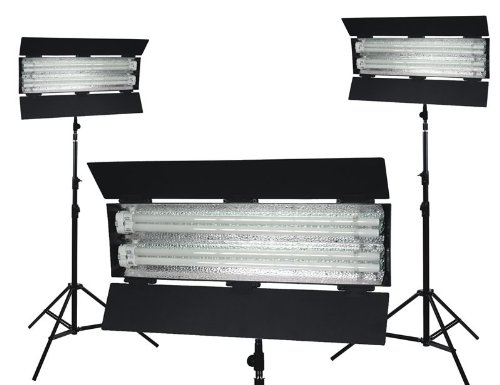 3-Point Fluorescent Lighting Kit, 5400K - 1500W Hotlight Equiv. by FLOlight