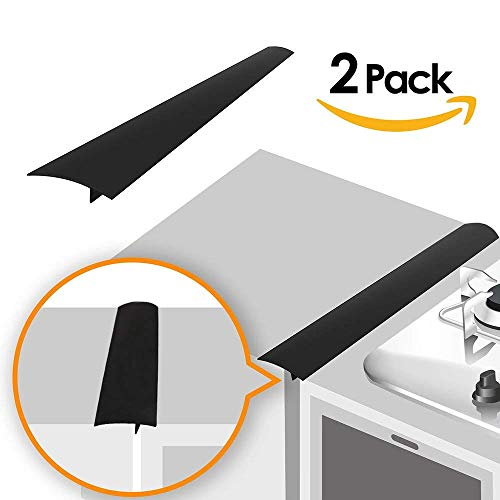 Linda's Silicone Kitchen Stove Counter Gap Cover Long & Wide Gap Filler (2 Pack) Seals Spills Between Counters, Stovetops, Washing Machines, Oven, Washer, Dryer | Heat-Resistant and Easy Clean ()