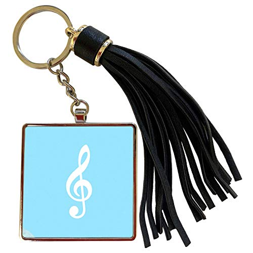 3dRose InspirationzStore Music Art Designs - Light Blue Treble Clef Music Notation - G clef musical note musician - Tassel Key Chain (tkc_232106_1) (Oasis A Great Big World Piano Sheet Music)