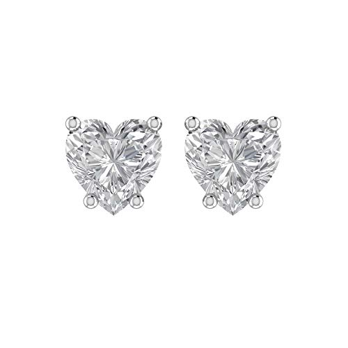 (Solid Sterling Silver 5mm Heart Shaped 1.45 Carat White Cubic Zirconia Stud Earrings, High Polished CZ Earrings with Push Backs)