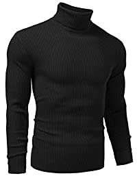 Vansop Men Basic Ribbed Knit Turtleneck Long Sleeve Slim Fit Pullover Sweater S-XXL