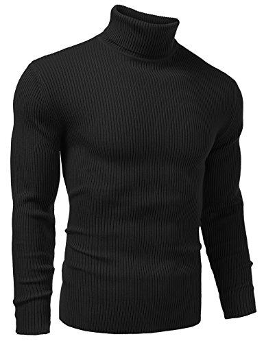 Vansop Mens Basic Ribbed Turtleneck Shirts Cotton Thermal Sweater(Black XXL)