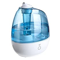TaoTronics Humidifier, Ultrasonic Humidifier with Extra Big 2 L Water Tank, Noiseless Operation, One Touch Control Sleep Mode and 360° Nozzle - US 120V Plug