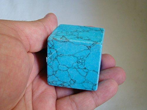 - Ham2108 Blue HOWLITE Turquesite Carved CUBE Hexahedron