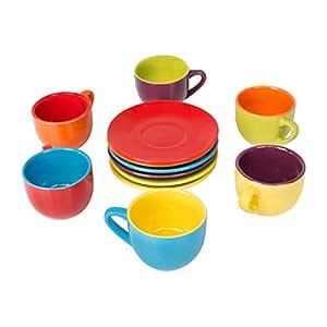 BIA Cordon Bleu Espresso Cups and Saucers Set, Assorted Color, 4 Onz, 6 pcs Set - A662955C