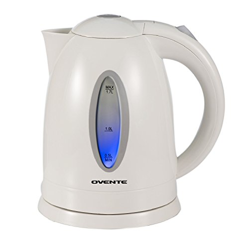 Ovente 1.7L BPA-Free Electric Kettle, Fast Heating Cordless Water Boiler with Auto Shut-Off and Boil-Dry Protection, LED Light Indicator, White (KP72W)