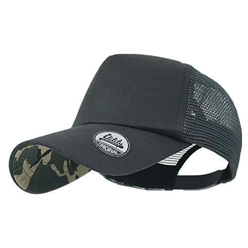ililily Extra Big Size Adjustable Mesh Back Curved Baseball Cap Trucker Hat (Large, Charcoal Camo) - Camo Stretch Cap