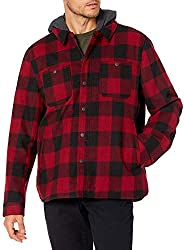 G.H. Bass & Co. Men's Wool Blend Plaid Hooded Work wear Jacket, Plai