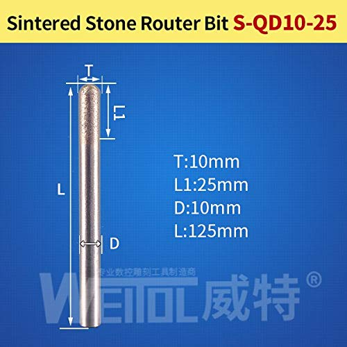 Router Diamond Bit Cm 2 - 1 piece Weitol flat bottom ball nose stone engraving bits Sintered stone carving tools diamond router bits cnc router tool bit