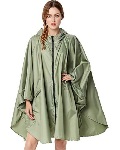 (NUUR Women's Rain Poncho Jacket Waterproof Lightweight Reusable Hiking Rain Coat Jacket with Hood - Green)