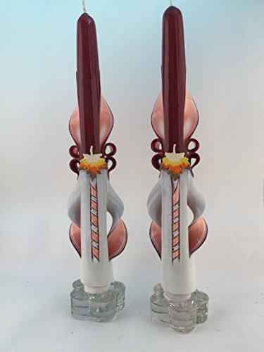 (Hand-Carved Autumn Leaves Taper Candles)