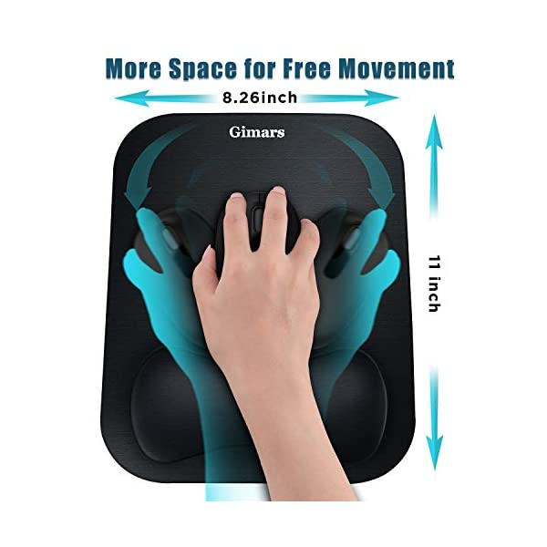 Gimars Large Smooth Superfine Fibre Memory Foam Ergonomic Mouse Pad Wrist Rest Support - Mousepad with Nonslip Base for…