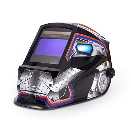 "Large Viewing Screen 3.9""X2.4"" True Color Solar Power Auto Darkening Welding Helmet, 4 Arc Sensor Wide Shade 4/5-9/9-13 for TIG MIG Arc Weld Grinding Welder Mask Robot Design"
