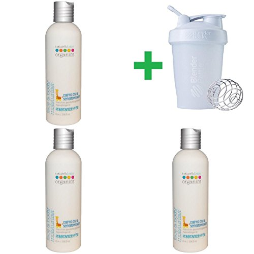 (Nature's Baby Organics, Face & Body Moisturizer, Fragrance Free, 8 oz (236.5 ml)(3 Packs)+ Assorted Sundesa, BlenderBottle, Classic With Loop, 20 oz)