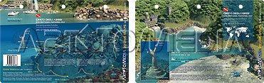 New Art to Media Underwater Waterproof 3D Dive Site Map - Cristo degli Abissi in Portofino, Italy (8.5 x 5.5 Inches) (21.6 x 15cm) (Media Portofino)