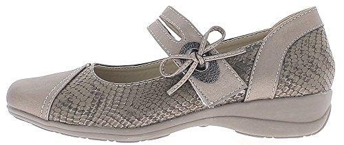 ChaussMoi Zapatos Confort Gris Mujer Plata Tacon 4 cm
