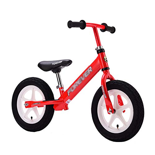 Kids' Balance Bikes Sports Balance Bike with Adjustable Handle & Leather Seat, No Pedal Balance Training Bike, Aged for 2-8yr Girls, 154lbs Capacity (Color : Red)