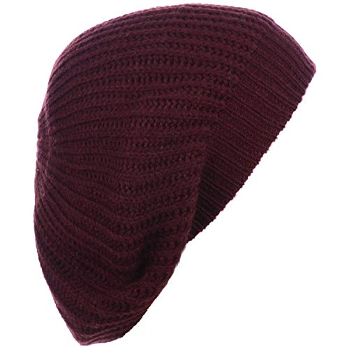 (BYOS Ladies Winter Solid Chic Slouchy Ribbed Crochet Knit Beret Beanie Hat W/WO Flower Adornment, Soft Touch (Wine) )