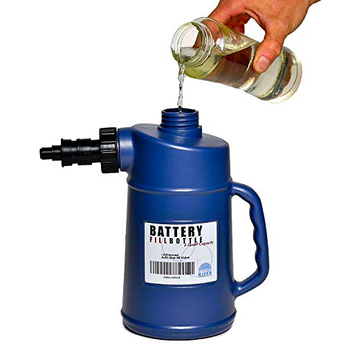 Heavy Duty Battery Filler With Auto Shut And Drip-Free Valve | 2-Quart Capacity Fast And Extra Safe. Battery Filler Bottle For Golf Cart And Automotive Tools. Avoid The Mess When Serving Your Units (Battery Water)