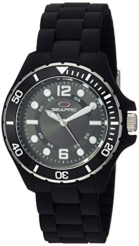 Seapro Women's 'Spring' Quartz Stainless Steel and Silicone Casual Watch, Color:Black (Model: SP3219)