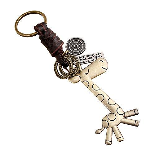 INEBIZ Alloy Cute Giraffe Retro Woven Cowhide Keychain Pendant ()