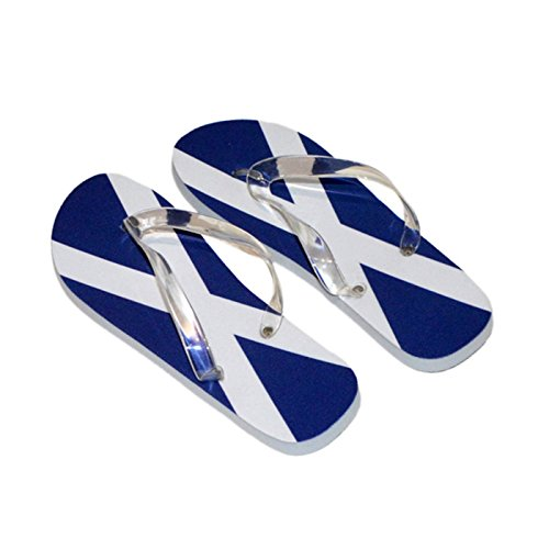 Saltire Scottish Scotland Flag Mens Flip Flops (Black Sole & Black Straps UK Shoe 7-11/Euro 40-45) O9GyMo