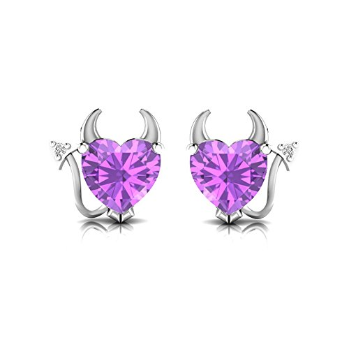 Pretty Jewellery Amethyst & Natural Diamond Accents in 14K White Gold Fn 925 Silver Devil Heart Earring
