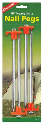 Coleman 2000016444 10 in. Heavy Duty Plated Steel Tent Peg - 4 Pack by Coleman