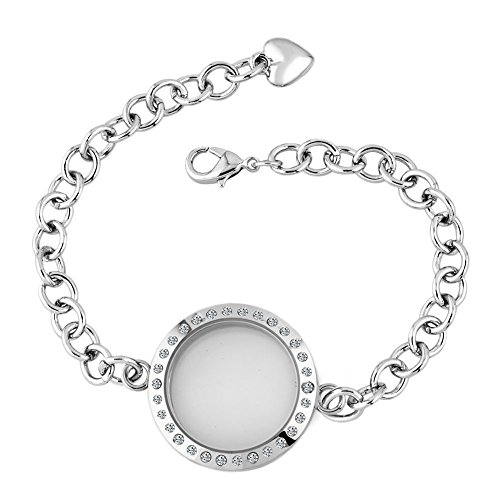 Corykeyes Glass Living Memory Link Locket Bracelet For Floating Charms (30mm Round Shaped)