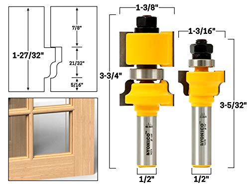 Rail Sash - Yonico 18227 2 Bit Window Sash/ Glass Door Router Bit Set with 1/2-Inch Shank