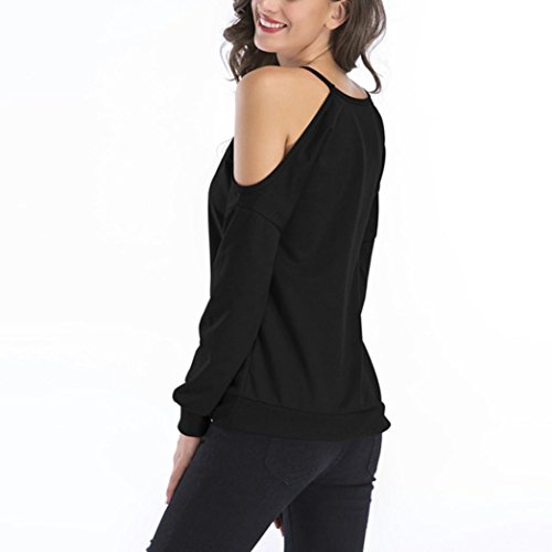 Women's Casual Long Sleeve Sexy Cold Shoulder Tops Simple Solid T-Shirts Blouse(Black ,large) (Order Spring Catalogs)