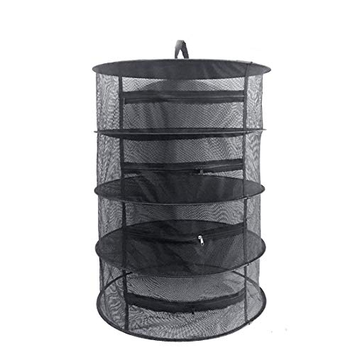 (Herb Drying Rack Net 4 Layer Herb Dryer Black Mesh Hanging Dryer Rack with Zipper (31.5