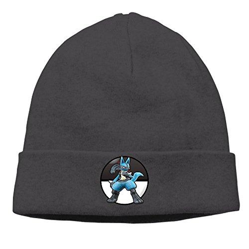 [Caromn Lucario Beanies Skull Ski Cap Hat Black] (Lightning Strike Costume)