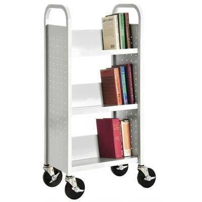 Sandusky Lee SL33017-22 Single Sided Sloped Shelf Book Truck, 14'' Length, 18'' Width, 46'' Height, 3 Shelves, White