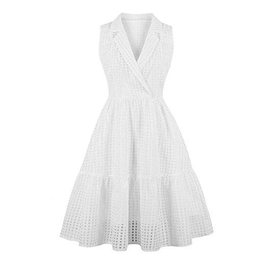 (Semme Womens Fashion V Neck Sleeveless Eyelet Fit Flare Elegant Cocktail Party Dress (White XXL))