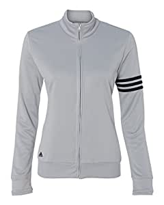 adidas-Ladies' ClimaLite® French Terry Jacket-A191-Small-Chrome-Black