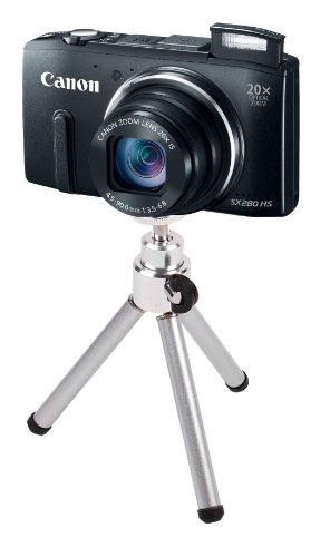 DURAGADGET Canon デジタルカメラ Power Shot SX280HS 約1210万画素 光学20倍ズーム ブラック PSSX280HS専用ミニ卓上三脚 シルバー