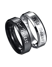 His Beauty Her Beast Engraved Ring Stainless Steel Couple Lovers Anniversary Engagement Wedding Band Promise Rings