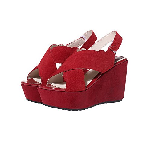 AgooLar Mujeres Gamuza Sólido Velcro Puntera Abierta Plataforma Sandalia, Rojo, 40